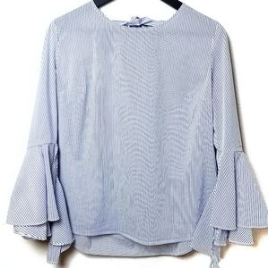Adorable Blue and White Bell Sleeved Blouse
